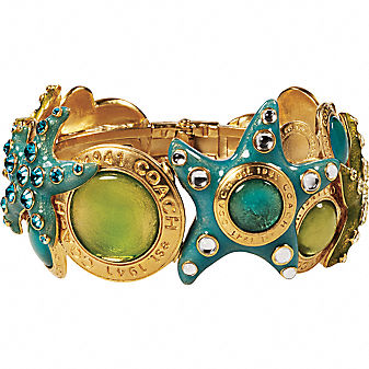 Coach Official Site - GLASS AND STARFISH HINGED BANGLE