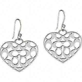 Coach Official Site - COACH MIRANDA SIGNATURE HEART EARRINGS :  wallets leather goods heart jewelry