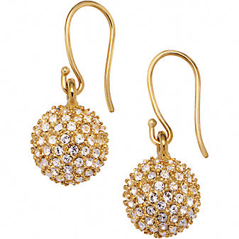 Coach Official Site - HOLIDAY PAVE BALL EARRINGS from coach.com