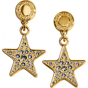 Coach Official Site - HOLIDAY PAVE STAR WITH SNAP EARRINGS :  star bags earrings shoes