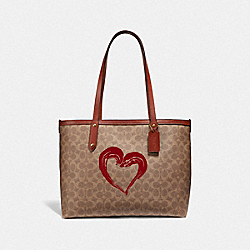 HIGHLINE TOTE IN SIGNATURE CANVAS - B4/TAN BLACK - COACH 955