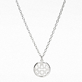 STERLING PAVE OP ART DISC NECKLACE