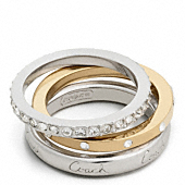 PAVE MIXED METAL RING SET