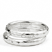 Sterling Hammered Ring Set