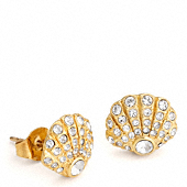 PAVE SHELL STUD EARRINGS