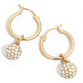 PAVE BALL DROP HOOP EARRINGS