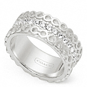 Sterling Op Art Pave Band Ring