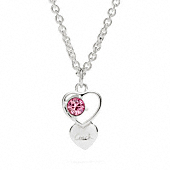 Sterling Open Heart Stone Necklace