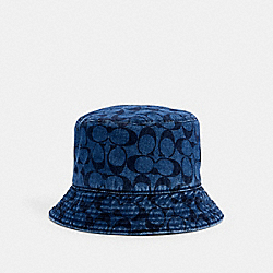 SIGNATURE FOLDABLE BUCKET HAT - DENIM - COACH 97847