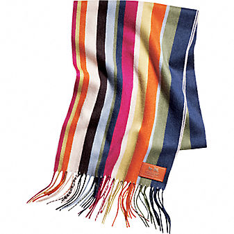 Coach Official Site - WOMENS COACH LEGACY STRIPE CASHMERE SCARF :  cashmere bags shoes leather goods