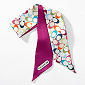 MULTI SIGNATURE PONYTAIL SCARF $38.00