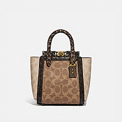 TROUPE TOTE 16 IN SIGNATURE CANVAS WITH SNAKESKIN DETAIL - B4/TAN SAND - COACH 99311