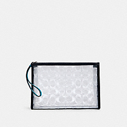 BEACH CLUTCH IN SIGNATURE CLEAR CANVAS - SV/CLEAR/ MIDNIGHT - COACH 99430