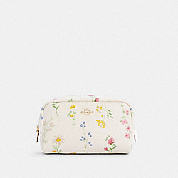 SMALL BOXY COSMETIC CASE WITH SPACED WILDFLOWER PRINT - IM/CHALK MULTI - COACH C0039