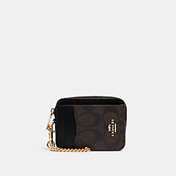 ZIP CARD CASE IN SIGNATURE CANVAS - IM/BROWN BLACK - COACH C0058