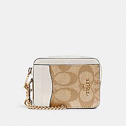 ZIP CARD CASE IN SIGNATURE CANVAS - IM/LIGHT KHAKI CHALK - COACH C0058