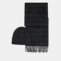 SIGNATURE SCARF AND HAT SET - BLACK SIGNATURE - COACH C0647