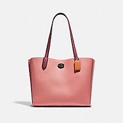 WILLOW TOTE IN COLORBLOCK WITH SIGNATURE CANVAS INTERIOR - V5/VINTAGE PINK MULTI - COACH C0692