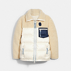 SHERPA DOWN JACKET - CREAM - COACH C0819