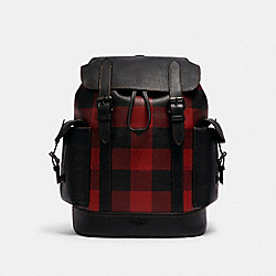 HUDSON BACKPACK WITH BUFFALO PLAID PRINT - QB/BLACK RED - COACH C1240