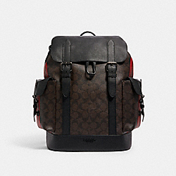 HUDSON BACKPACK IN SIGNATURE CANVAS WITH VARSITY STRIPE - QB/MAHOGANY 1941 RED SADDLE - COACH C1242