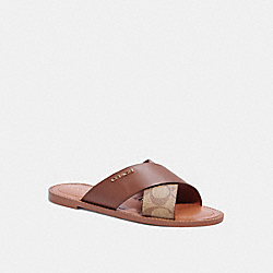 HILDA SANDAL IN SIGNATURE CANVAS - SADDLE - COACH C1276