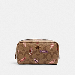 SMALL BOXY COSMETIC CASE IN SIGNATURE CANVAS WITH CANDY PRINT - IM/KHAKI MULTI - COACH C1388