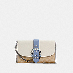GEMMA CLUTCH CROSSBODY IN COLORBLOCK SIGNATURE CANVAS - SV/CHALK/LIGHT KHAKI MULTI - COACH C1484