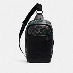 WESTWAY PACK IN RAINBOW SIGNATURE CANVAS - QB/GRAPHITE GREEN - COACH C1486