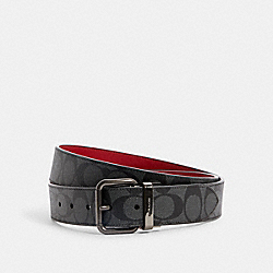ROLLER BUCKLE CUT-TO-SIZE REVERSIBLE BELT, 38MM - QB/1941 RED CHARCOAL - COACH C1509