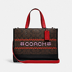 DEMPSEY CARRYALL IN SIGNATURE CANVAS WITH FAIR ISLE GRAPHIC - QB/BROWN/1941 RED MULTI - COACH C1527