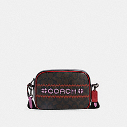 DEMPSEY CAMERA BAG IN SIGNATURE CANVAS WITH FAIR ISLE GRAPHIC - QB/BROWN/1941 RED MULTI - COACH C1541