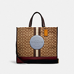 DEMPSEY TOTE 40 IN SIGNATURE JACQUARD WITH STRIPE AND COACH PATCH - IM/KHAKI/MIST MULTI - COACH C1548