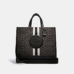 DEMPSEY TOTE 40 IN SIGNATURE JACQUARD WITH STRIPE AND COACH PATCH - SV/BLACK SMOKE BLACK MULTI - COACH C1548