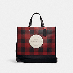 DEMPSEY TOTE 40 WITH BUFFALO PLAID PRINT AND COACH PATCH - SV/BLACK/1941 RED MULTI - COACH C1549