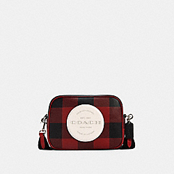DEMPSEY CAMERA BAG WITH BUFFALO PLAID PRINT AND COACH PATCH - SV/BLACK/1941 RED MULTI - COACH C1550