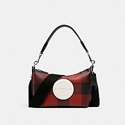DEMPSEY SHOULDER BAG WITH BUFFALO PLAID PRINT AND COACH PATCH - SV/BLACK/1941 RED MULTI - COACH C1551