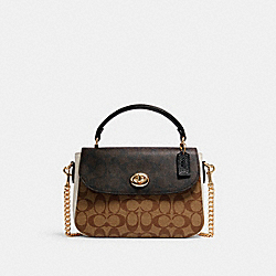 MARLIE TOP HANDLE SATCHEL IN BLOCKED SIGNATURE CANVAS - IM/KHAKI BROWN MULTI - COACH C1563