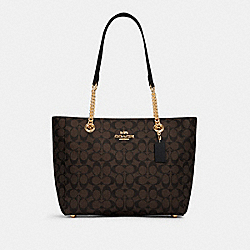 MARLIE TOTE IN SIGNATURE CANVAS - IM/BROWN BLACK - COACH C1565