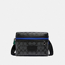 SMALL CARRIER CROSSBODY IN COLORBLOCK SIGNATURE CANVAS - QB/CHARCOAL MULTI - COACH C1597