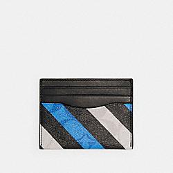 SLIM CARD CASE IN SIGNATURE CANVAS WITH DIAGONAL STRIPE PRINT - QB/BLUE MULTI - COACH C1608