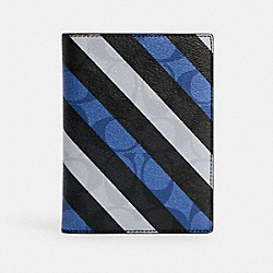 PASSPORT CASE IN SIGNATURE CANVAS WITH DIAGONAL STRIPE PRINT - QB/BLUE MULTI - COACH C1610