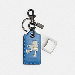 BOTTLE OPENER KEY FOB IN SIGNATURE CANVAS ROBOT - QB/BLUE JAY MULTI - COACH C1617