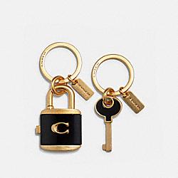 LOCK AND KEY BAG CHARM KEY RING - IM/BLACK - COACH C1679