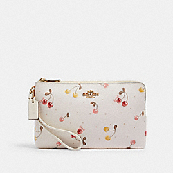 DOUBLE ZIP WALLET WITH PAINTED CHERRY PRINT - IM/CHALK MULTI - COACH C1814
