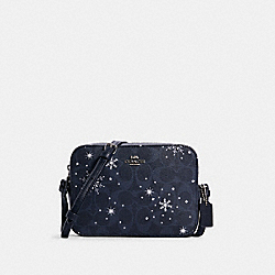 MINI CAMERA BAG IN SIGNATURE CANVAS WITH SNOWFLAKE PRINT - SV/MIDNIGHT MULTI - COACH C1834