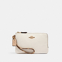 DOUBLE CORNER ZIP WRISTLET - IM/CHALK MULTI - COACH C1860