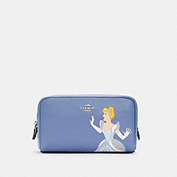 DISNEY X COACH SMALL BOXY COSMETIC CASE WITH CINDERELLA - SV/PERIWINKLE MULTI - COACH C1875