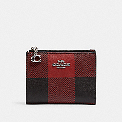 SNAP CARD CASE WITH BUFFALO PLAID PRINT - SV/BLACK/1941 RED MULTI - COACH C1884