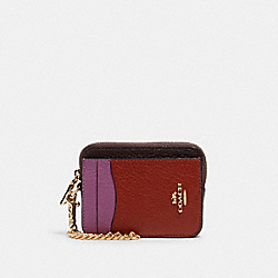 ZIP CARD CASE IN COLORBLOCK - IM/TERRACOTTA/YELLOW MULTI - COACH C1886